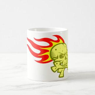 Tête de mort crâne flammes skull flames mug blanc