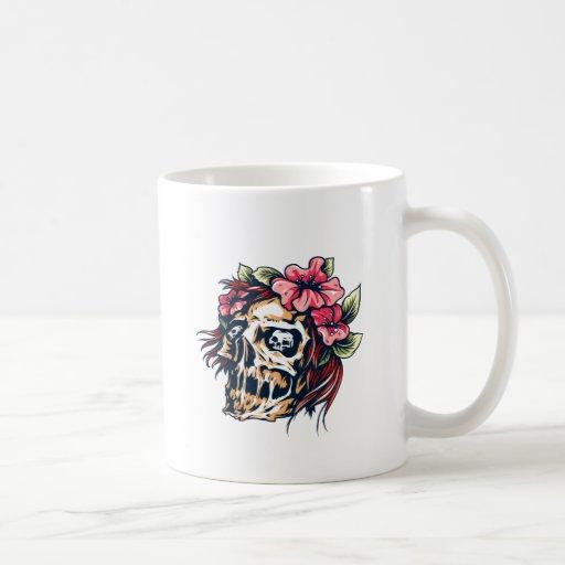 Tête de mort crâne fleurs skull flowers tasse