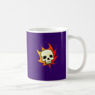 Tête de mort crâne skull flammes flames mug blanc