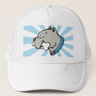 Tête de Pitbull de bande dessinée - casquette bleu