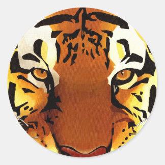 tête de tigre sticker rond