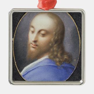 Tête du Christ, miniature Ornement Carré Argenté