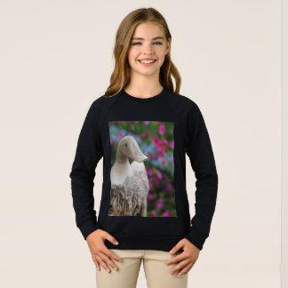 Tête en bois de canard avec des fleurs sweatshirt