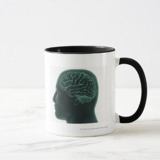 Tête humaine dans le profil montrant le cerveau tasse