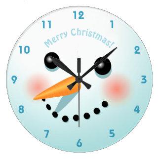 Tête mignonne de bonhomme de neige avec les joues grande horloge ronde