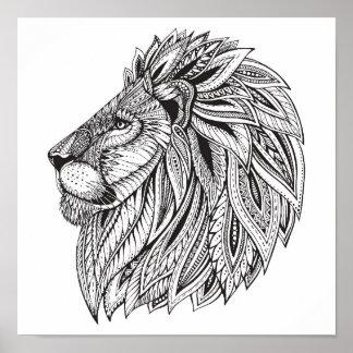 Tête modelée ethnique 2 de lion posters