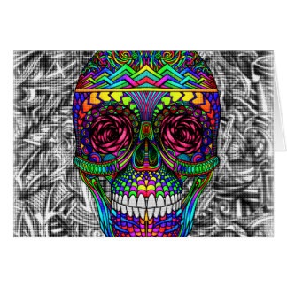 Tête morte en spirale d'art abstrait de crâne de cartes