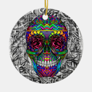 Tête morte en spirale d'art abstrait de crâne de ornement rond en céramique