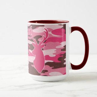 Tête rose de cerfs communs de camo mug