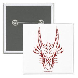 Tête rouge tribale de dragon badge avec épingle