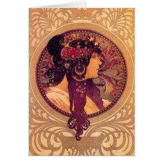 Têtes bizantines : Brune Alfons Mucha Carte De Vœux