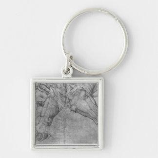 Têtes des chevaux, le de l'album de Vallardi Porte-clé Carré Argenté