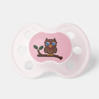 tétine à 8 bits de bébé de hibou - rose