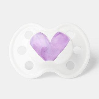 Tétine Aquarelle Purple Heart, coeur de valentine