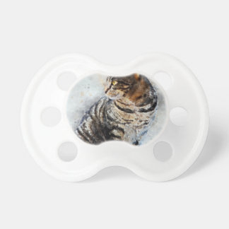 Tétine Art mignon d'aquarelle de chat tigré