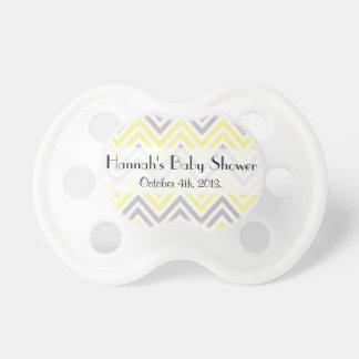 Tétine Baby shower - motif de zigzag, Chevron - jaune