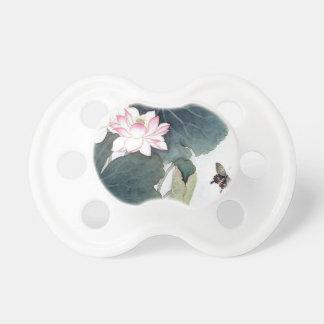 Tétine Cool asiatique d'art de papillon de fleur de rose