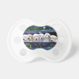 Tétine de bébé avec six chiots mignons