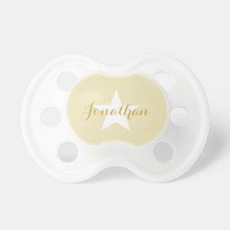 Tétine de bébé de HAMbyWG - étoile blanche beige