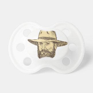 Tétine Dessin barbu de tête de cowboy