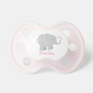 Tétine faite sur commande de bébé éléphant rose et