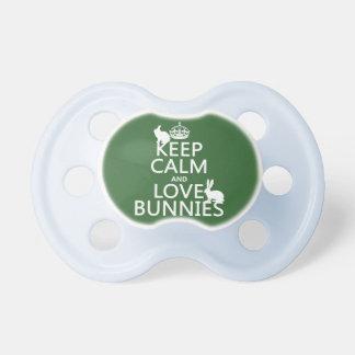 Tétine Gardez le calme et aimez les lapins - toutes les