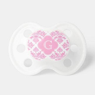 Tétine Grand étiquette floral blanc rose de monogramme de