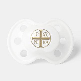 """Tétine Jésus-Christ """"à trois dimensions"""" d'or : Conquiert"""