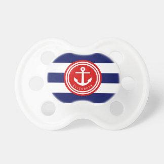 Tétine Monogramme nautique d'ancre de rayure de marine de