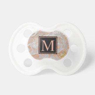 Tétine Monogramme rose de remous de marbre d'or de Faux