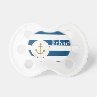 Tétine personnalisable rayée de marine nautique d'