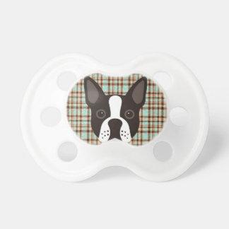 Tétine Plaid de tartan de chiot de Boston Terrier