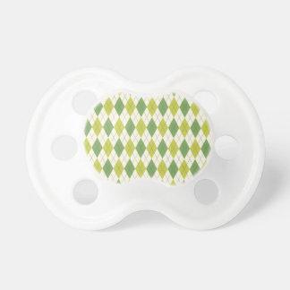 Tétine Rétro motif à motifs de losanges géométrique vert
