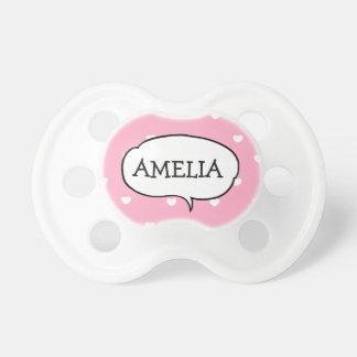 Tétine rose et blanche personnalisée de bébé de