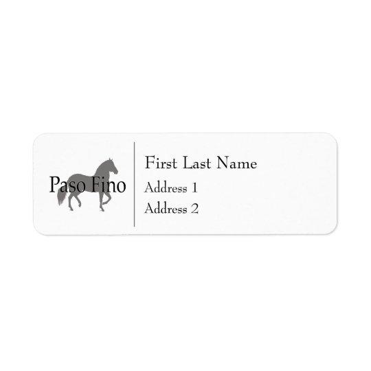 Texte 1 de silhouette de Paso Fino Étiquette D'adresse Retour