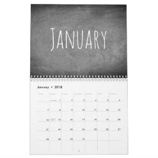 Texte 2018 noir et blanc de calendrier de tableau