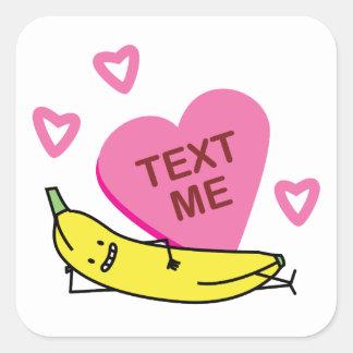 Texte de banane je fixation de sourire de sticker carré