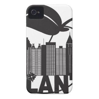 Texte de blanc de noir de cornouiller de pêche coques iPhone 4 Case-Mate
