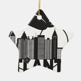 Texte de blanc de noir de cornouiller de pêche ornement étoile en céramique