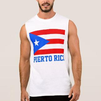 Texte de drapeau du monde de Porto Rico T-shirts Sans Manches