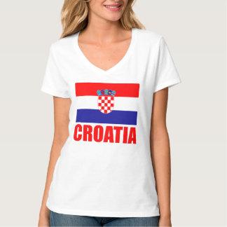 Texte de rouge de drapeau de la Croatie T-shirt