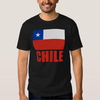 Texte de rouge de drapeau du Chili T-shirt