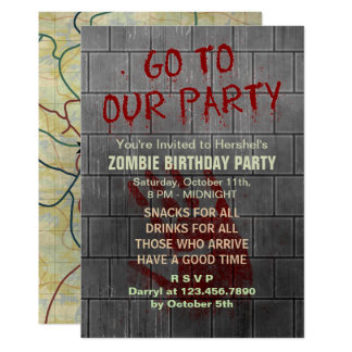 Texte de sang d'apocalypse de vampires de fête carton d'invitation  12,7 cm x 17,78 cm