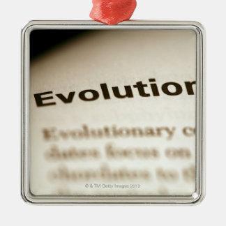 Texte d'évolution à la page ornement carré argenté