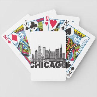Texte d'horizon de ville de Chicago noir et blanc Cartes À Jouer