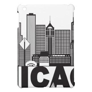 Texte d'horizon de ville de Chicago noir et blanc Coques Pour iPad Mini