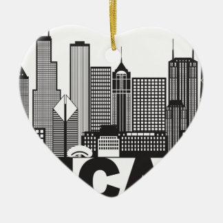 Texte d'horizon de ville de Chicago noir et blanc Ornement Cœur En Céramique