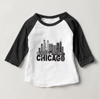 Texte d'horizon de ville de Chicago noir et blanc T-shirt Pour Bébé