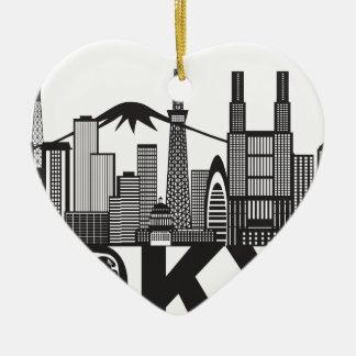 Texte d'horizon de ville de Tokyo noir et blanc Ornement Cœur En Céramique