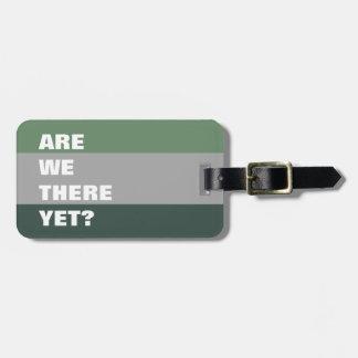 Texte drôle rayé de palette de couleurs verte et étiquette à bagage